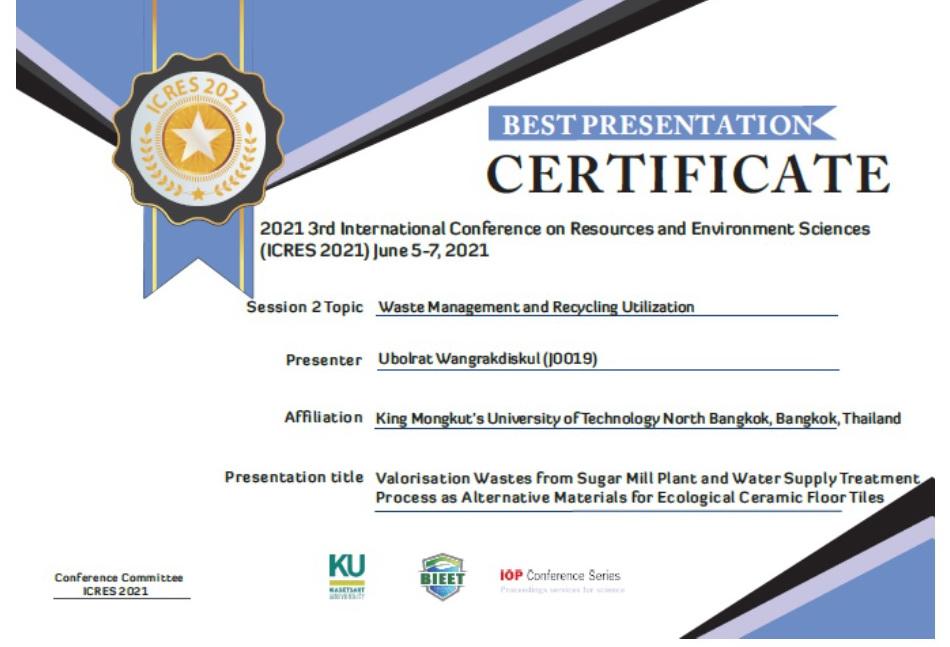 อาจารย์ มจพ. คว้ารางวัล BEST PRESENTATION จากงานประชุม ICRES 2021 ตอบโจทย์ การอนุรักษ์พลังงาน